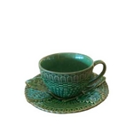 Green Majolica Cup and Saucer