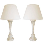 Pair Bone Balustrade Lamps