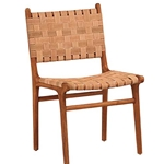 Teak Woven Leather Chair