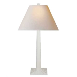 White Fluted Plaster Lamp
